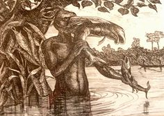 The mondjoli-mbembe - a bird-headed fish-man from the folklore of the Central African Republic (© Jean Claude Thibault) Mythological Creatures, Fantasy Creatures, Mythical Creatures, African Mythology, Man Beast, Legendary Creature, Fish Man, Black History Facts, Cryptozoology