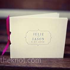 The bride made the ceremony programs herself, using the same nameplate from the couple's invitation. She bound the booklets together with bright pink ribbon.