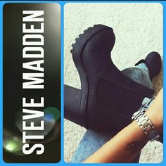 Steve Madden ROMMAN Booties Timeless yet so timely & right on trend. Chic & versatile, these stylish booties will keep your casual look on trend all season long. The perfect addition for your Hipster style! Slick leather platform with elastic gore tab inserts on either side & stacked heel will instantly be your new favorite ankle boot.  Style with destroyed denim skinnies & a white tee,  throw on a chain-strap crossbody to up the street-savvy chic. Steve Madden Shoes Ankle Boots & Booties