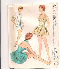 Vintage 1950s Swimsuit Pattern McCalls 3164 Sz 12 Bust 30. $28.00, via Etsy.