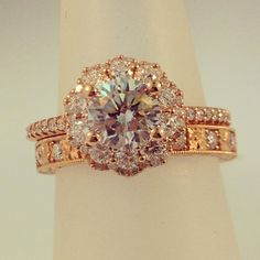 Rose Gold Artcarved engagement ring paired with a Icing On The Ring Rose Gold wedding band from their Engraved Collection.  #rosegold #artcarved #engagement #wedding