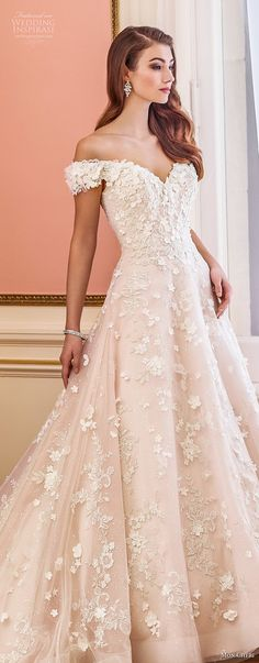 mon cheri fall 2017 bridal off the shoulder sweetheart neckline full embellishment romantic princess pink a  line wedding dress royal train (230) lv  -- Mon Cheri Fall 2017 Wedding Dresses