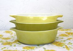 Vintage Pyrex done in Greens, I love vintage colors! ~Mary Walds Place - green vintage pyrex