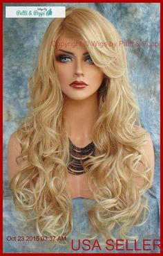 LONG CURLY HEAT SAFE SKIN TOP WIG BLONDE✯T27.613  DAZZLING HOT SEXY USA SELL 356 #Sepia