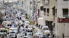 Saudi ambulances arrive on the scene.