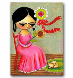 ORIGINAL canvas painting FRIDA Kahlo and CHIHUAHUA by tascha