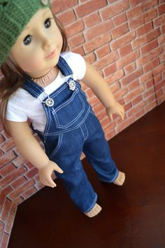 18 inch Doll Clothes Dark Wash Overall Blue by camelotstreasures