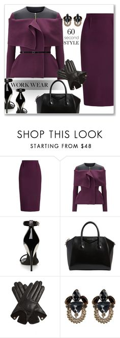 """Work wear"" by liligwada ❤ liked on Polyvore featuring Roland Mouret, La Perla, Givenchy, AGNELLE, Jenny Packham, Yves Saint Laurent, WorkWear, chic, classy and plum"