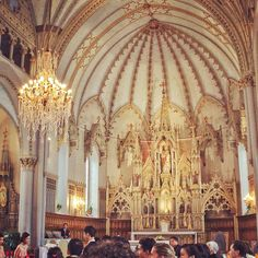 Interiors of St. Hubert Church. A golden atmosphere for a golden celebration! #travelpics #Montreal #Quebec #architecture #church #catholic