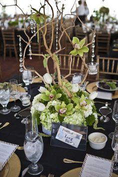 Tulips, Hydrangea, and Iris modern wedding reception décor ideas. Love the hanging candle and beading! Manzanita Centerpiece, Branch Centerpieces, Floral Centerpieces, Wedding Centerpieces, Centerpiece Ideas, Manzanita Branches, Centrepieces, Tree Branches, Mod Wedding