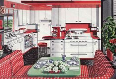 1946 American Gas Assn – Alcove Kitchen Red and white gingham kitchen. Found in Ladies Home Journal. Personally, I like the flip down counter by the stool. Home Interior, Interior Design Kitchen, Kitchen Decor, Scandinavian Interior, Interior Decorating, Kitchen Layout, Kitchen Designs, Modern Interior, Retro Home Decor