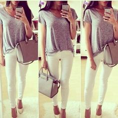 add nude pumps and jewelry to dress up a v-neck and white skinnies - for casual friday