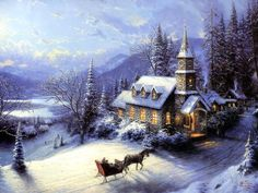 Sunday Evening Sleigh Ride - 1996 - Thomas Kincade