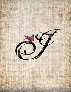 Antique Letter I Script Monogram with Butterfly Digital Download for Dictionary Pages, Papercrafts, Transfer, Pillows, etc.Burlap No 7453