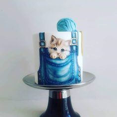 Cake Decorating Frosting, Cake Decorating Tips, Baby Boy Cakes, Girl Cakes, Fancy Cakes, Cute Cakes, Baby Shower Cake Designs, Kitten Cake, Birthday Cakes For Teens