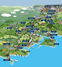 Whimsical Map of Things to See and Do in Southwest England by Train