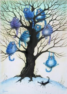 Beautiful illustrations by Rob Scotton Blue cat tree I Love Cats, Crazy Cats, Splat Le Chat, Art Fantaisiste, Art Carte, Photo Chat, Art Et Illustration, Cat Illustrations, Blue Cats