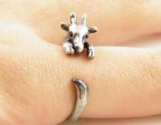 Silver Giraffe Animal Wrap Ring