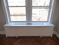 Perfect custom radiator cover with its Contemporary style matching the rest of the apartment renovation. Custom Radiator Covers, Apartment Renovation, Home Improvement Projects, Built Ins, Old Houses, Contemporary Style, Cover Design, Flooring, Storage