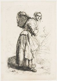 Philadelphia Museum of Art - Collections Object : Village Woman Carrying a Basket on Her Back. Johannes Pieter de Frey, Dutch, After earlier piece by Jacobus Johannes Lauwers, Belgian. NOTE: tie on sleeves on jacket Historical Costume, Historical Clothing, Art Village, 18th Century Costume, 18th Century Clothing, Tinta China, Philadelphia Museum Of Art, Traditional Art, Medieval