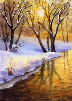 "ACEO/Miniature(2,5""x3,5"")-Original Watercolor-Landscape # 1-by Elena Mezhibovsky #Miniature"