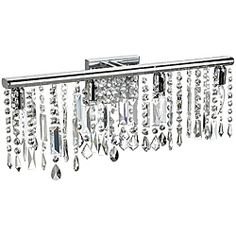 4 Light Chrome Crystal Wall Sconce Bathroom Vanity Fixture 24"