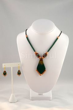 Terracotta Green Spear Necklace and Earring Set