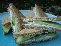 Cucumber Tea Sandwiches--will replace the cream cheese with hummus   http://www.food.com/recipe/hannahs-cucumber-tea-sandwiches-452653