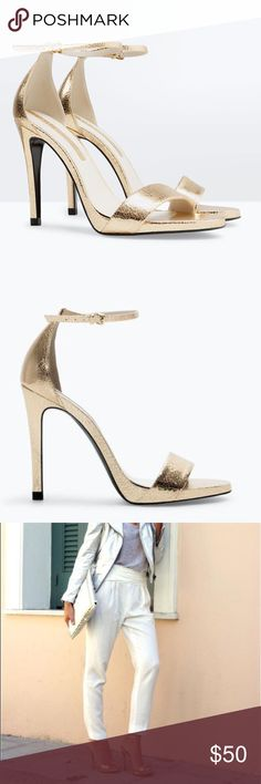 CRACKLED LEATHER HIGH HEEL SANDAL from Zara Metallic CRACKLED LEATHER HIGH HEEL SANDAL from Zara - Gold strappy heel sandal. Worn once in the lobby of a hotel in pristine conditions. Zara Shoes Heels