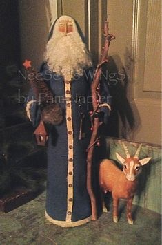 All my ability is from God.....NeeSeY's WiNgS by Pam Napier ❤️ Primitive Country Colonial Christmas, Primitive Folkart Soft Sculpture Handmade Old World Belsnickle Style Santa, St. Nicholas , St. Nick, Santa Claus