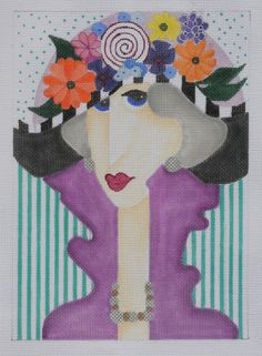 Lady with flower hat needlepoint canvas, designer unknown