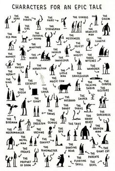 This makes me wish I taught creative writing.Fun creative writing- characters you need for an epic tale by tom gauld. students choose one, three, ten -- then write! Book Writing Tips, Writing Resources, Writing Help, Short Story Writing, Editing Writing, Writing Process, Start Writing, Writing Services, Writing Characters