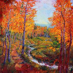 Autumn in Gold - Modern Impressionism | Contemporary Landscape Oil Paintings for Sale by Erin Hanson