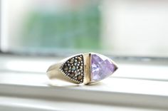 Vintage Silver Ring  Antique Crystal and Amethyst by barargent, $28.00