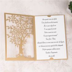 Tree laser cut wedding invitation in gold with custom invitation insert #wedding #lasercut #invitation #weddinginvitation #laser #graphicdesign #custom #design #gold #tree
