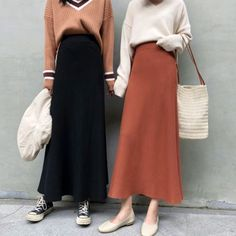 Discount Elegant Black Skirts Women A Line Korean Style High Street Knitted Skirt High Waist Solid Color Simple Midi Skirt Winter Autumn Muslim Fashion, Modest Fashion, Skirt Fashion, Hijab Fashion, Korean Fashion, Fashion Outfits, Mode Outfits, Skirt Outfits, Korean Outfits