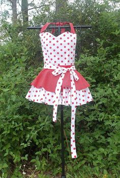 Bib  Apron Red and White double Layer by SouthernSister2 on Etsy, $30.00