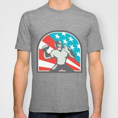 American Football Quarterback QB USA Flag Woodcut T-shirt. Illustration of an american football gridiron quarterback player throwing ball viewed from the side side set inside crest shield with usa stars and stripes flag in background done in retro woodcut style. #illustration #AmericanFootball
