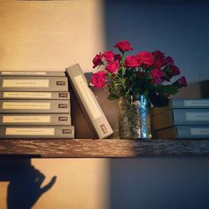 books, roses, light