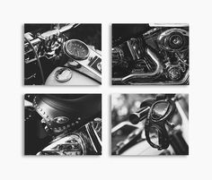 Set of 4 Harley Close up Photo Prints, Black and White Fine Art, Wall decor,
