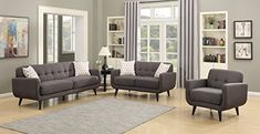 AC Pacific Crystal Collection Upholstered Charcoal MidCentury 3Piece Living Room Set with Tufted Sofa Loveseat and Arm Chair and 4 Accent Pillows Charcoal *** You can get additional details at the image link. (This is an affiliate link) #SofaSetsforLivingRoom