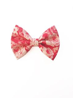 52b27d74b632 Coral Rose Floral Mini Classic Bow / Valentine's Day / Spring / Dusty Rose  / Baby / Toddler / Girl / Accessories / Small / Clip / Headband