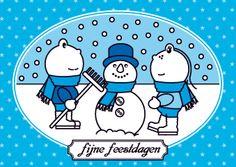 Kerstkaart sneeuwpop met Frokkie en Lola.