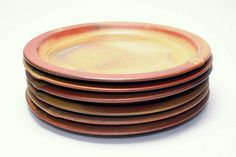 Peter Sabin Contemporary Studio Pottery Dinner Plates Special Commission Order All Perfect and Signed New Hampshire