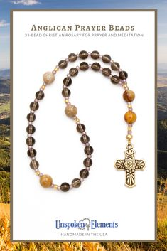 Beautiful smoky quartz and agate gemstones make up this 33-Bead Anglican Rosary for prayer and meditation. A thoughtful gift for baptism, confirmation, Mother's Day, Father's Day, Easter, Lent, addiction recovery or healing. Handmade in the USA by Unspoken Elements. #prayer #anglican #rosary #lent #christianprayer #easter #protestant #methodist Personal Prayer, Christian Prayers, Drawstring Pouch, Addiction Recovery, Prayer Beads, Agate Gemstone, Smoky Quartz, Lent, How To Make Beads