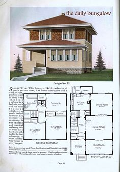 american four square. Kind of cool, except I would have to find a way to open the kitchen and also install another bath upstairs so the master could be en suite. Square House Plans, Small House Plans, House Floor Plans, Bungalows, Four Square Homes, Vintage House Plans, Vintage Houses, Modern Bungalow, Second Empire