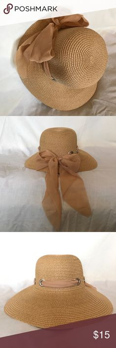 Sun Hat Beige sun hat with beige ribbon and silver grommets Accessories Hats