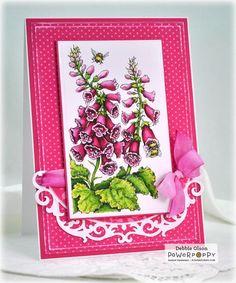 Bees in Foxglove Digital Stamp Set | Power Poppy by Marcella Hawley. Card design by Debbie Olson.