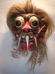 Balinese Topeng Mask Demon Bali Wall Art carved wood with hair