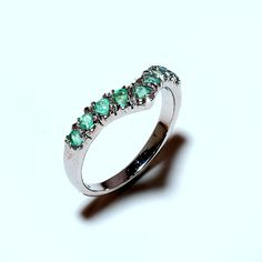 New-925 Sterling Silver Natural Emerald Ring  Jewelry by SimSimSilver on Etsy